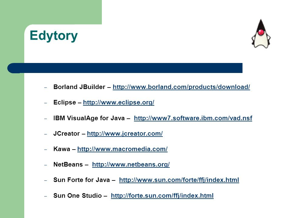 Edytory Borland JBuilder – http://www.borland.com/products/download/