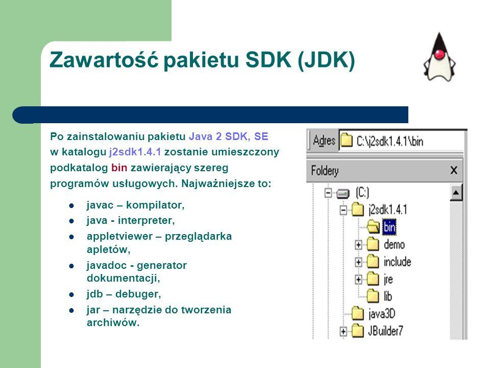 Zawartość pakietu SDK (JDK)