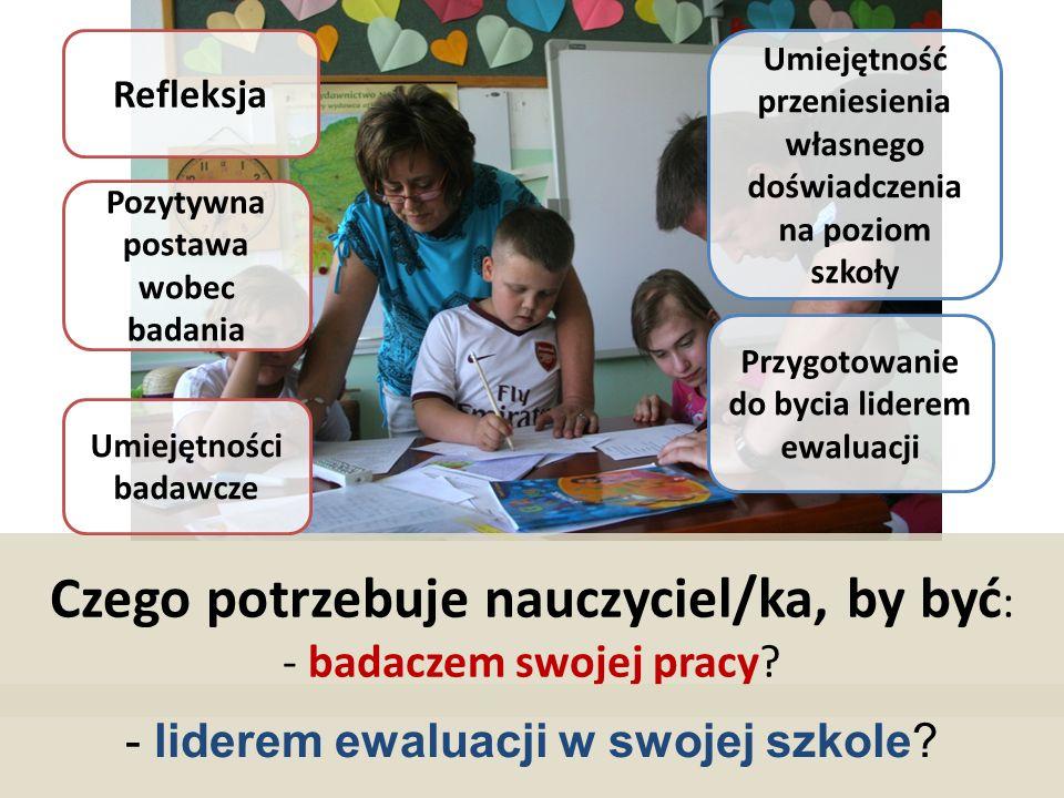 Czego potrzebuje nauczyciel/ka, by być: - badaczem swojej pracy