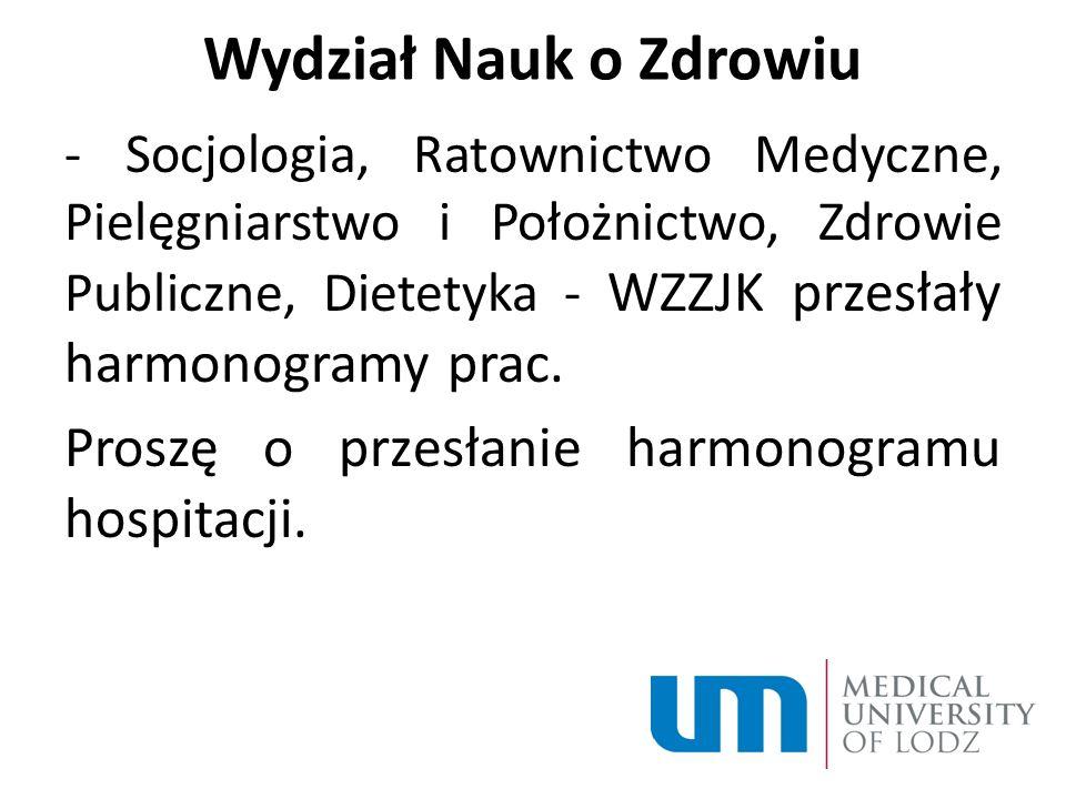 Wydział Nauk o Zdrowiu Proszę o przesłanie harmonogramu hospitacji.