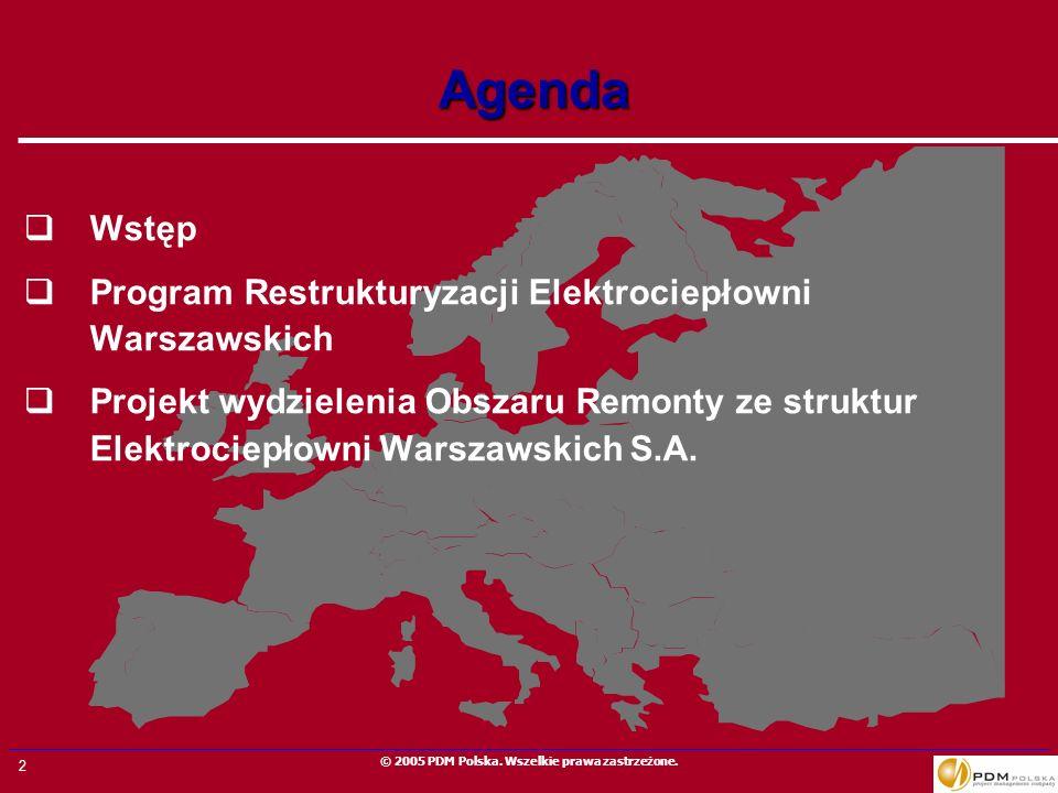 Agenda Wstęp Program Restrukturyzacji Elektrociepłowni Warszawskich