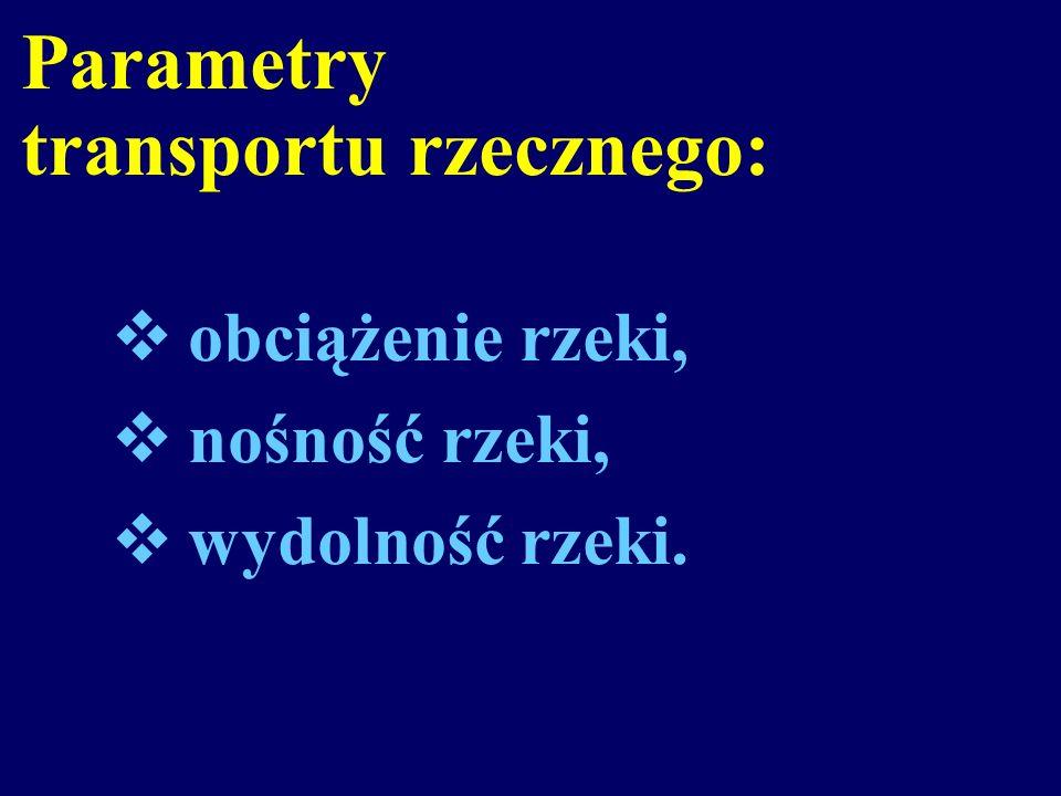 Parametry transportu rzecznego: