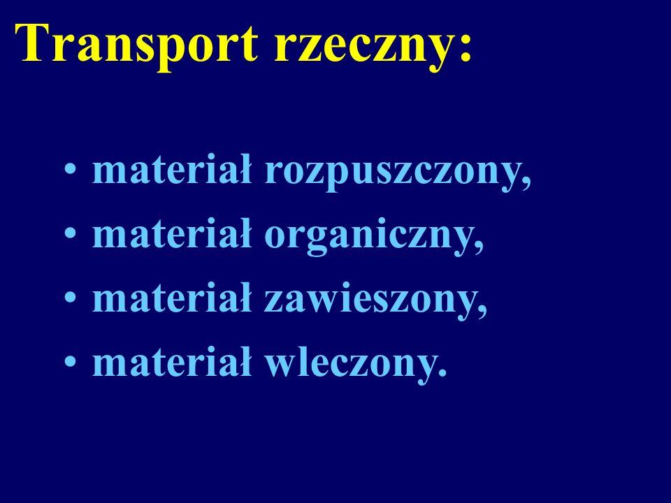 Transport rzeczny: materiał rozpuszczony, materiał organiczny,