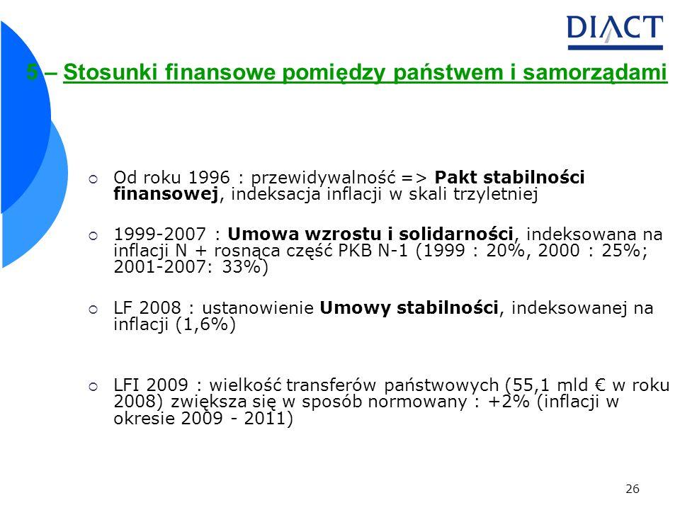5 – Stosunki finansowe pomiędzy państwem i samorządami
