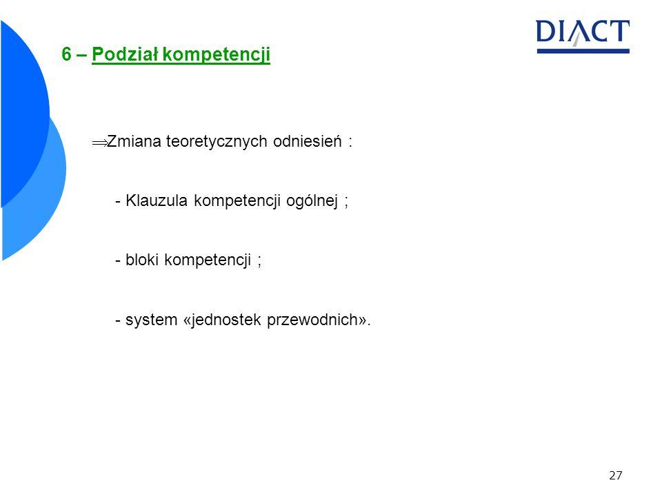6 – Podział kompetencji Zmiana teoretycznych odniesień :
