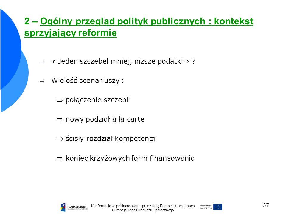 2 – Ogólny przegląd polityk publicznych : kontekst sprzyjający reformie