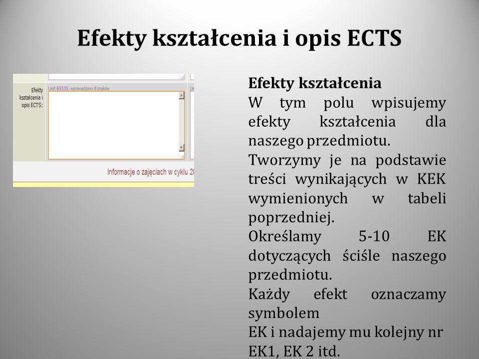 Efekty kształcenia i opis ECTS