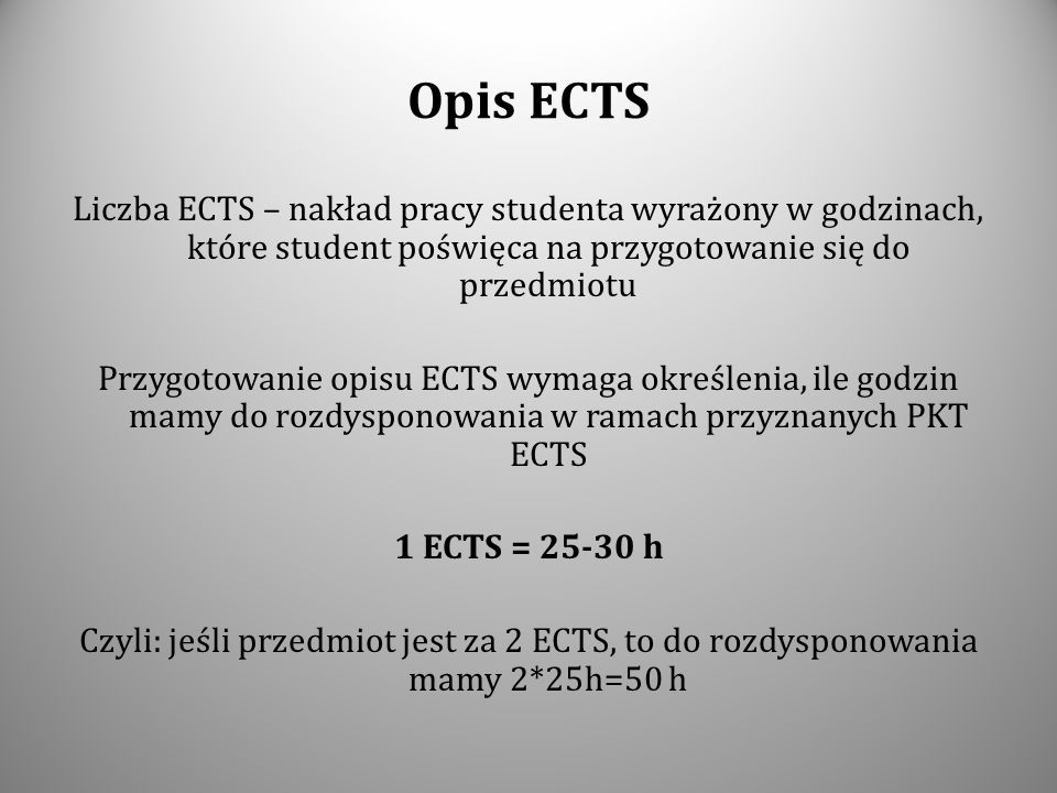 Opis ECTS