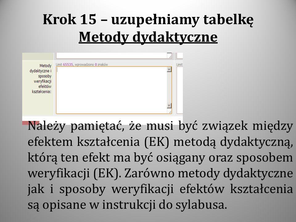 Krok 15 – uzupełniamy tabelkę Metody dydaktyczne