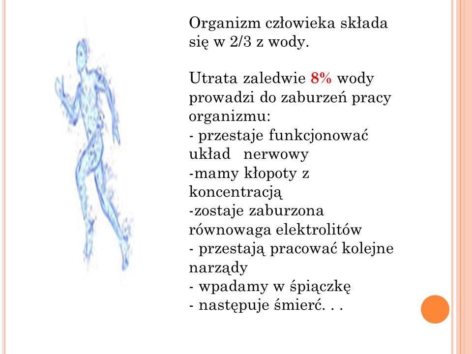 Organizm człowieka składa się w 2/3 z wody.