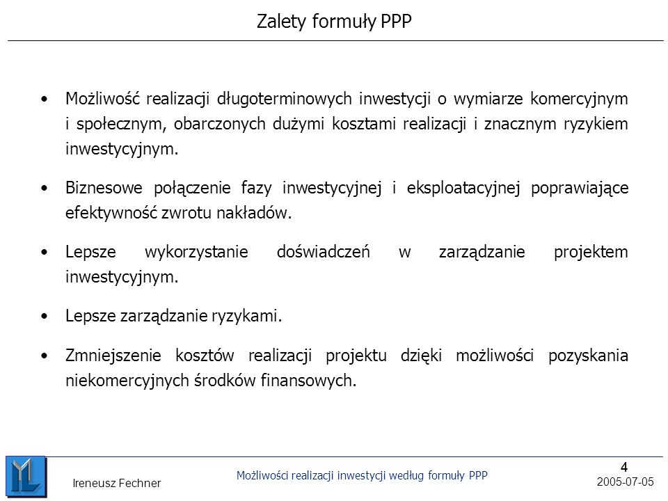 Zalety formuły PPP