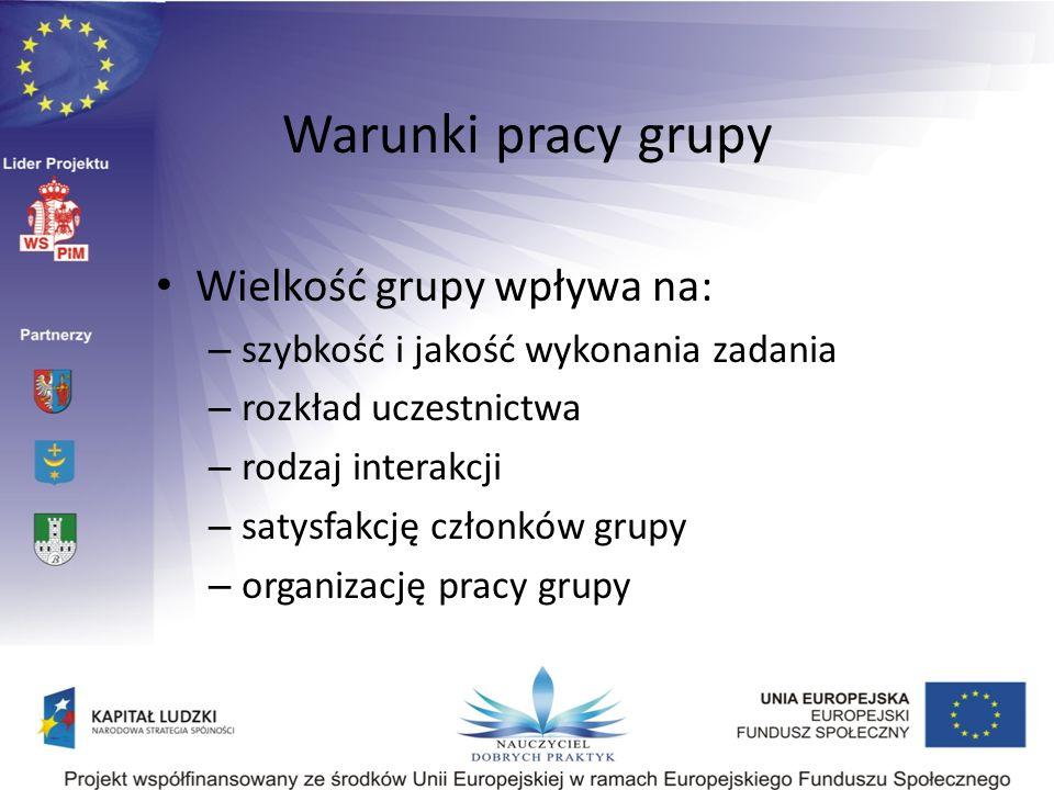 Warunki pracy grupy Wielkość grupy wpływa na: