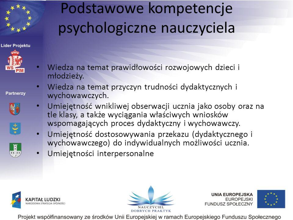 Podstawowe kompetencje psychologiczne nauczyciela