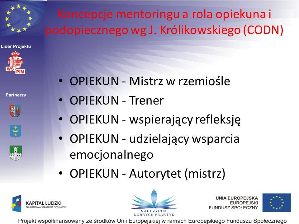 Koncepcje mentoringu a rola opiekuna i podopiecznego wg J