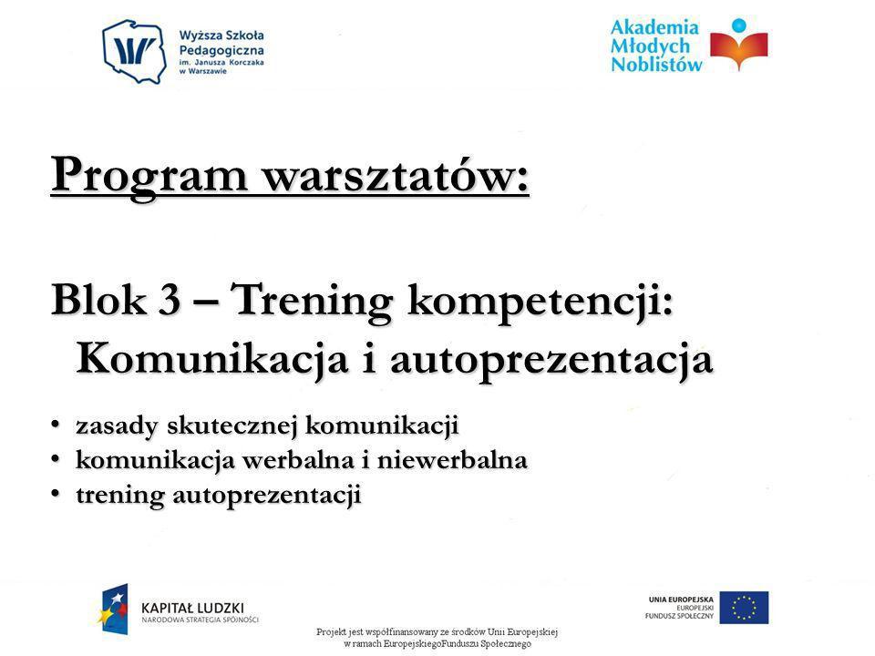 Program warsztatów: Blok 3 – Trening kompetencji: Komunikacja i autoprezentacja. zasady skutecznej komunikacji.