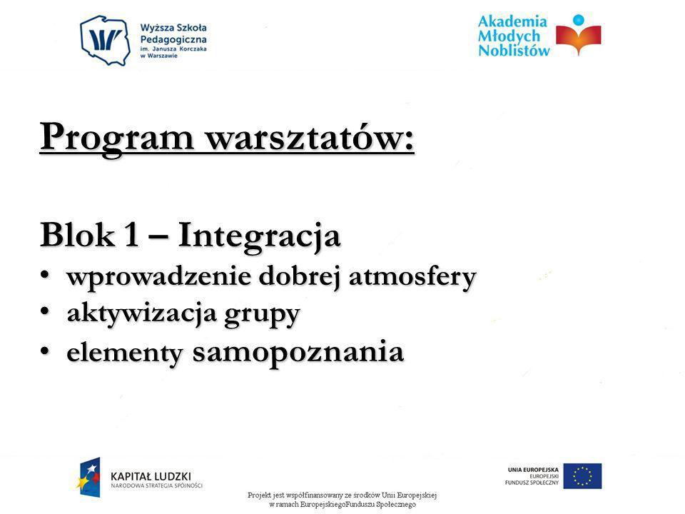 Program warsztatów: Blok 1 – Integracja wprowadzenie dobrej atmosfery
