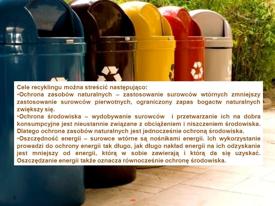 Cele recyklingu można streścić następująco: