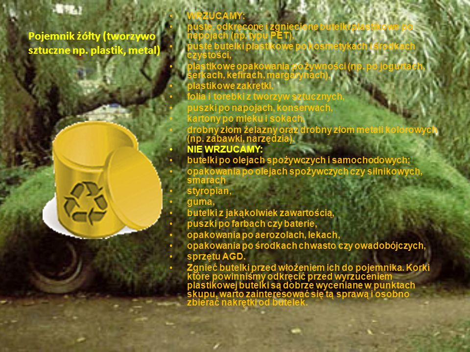 Pojemnik żółty (tworzywo sztuczne np. plastik, metal)
