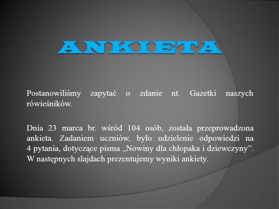 Ankieta Postanowiliśmy zapytać o zdanie nt. Gazetki naszych rówieśników.