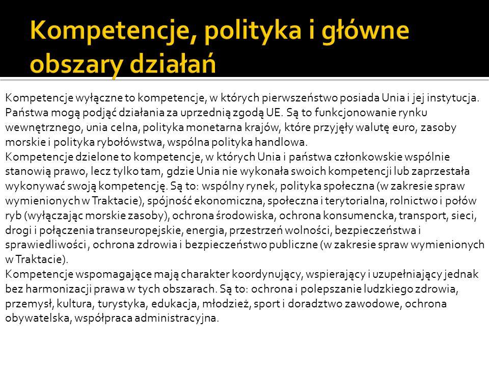 Kompetencje, polityka i główne obszary działań