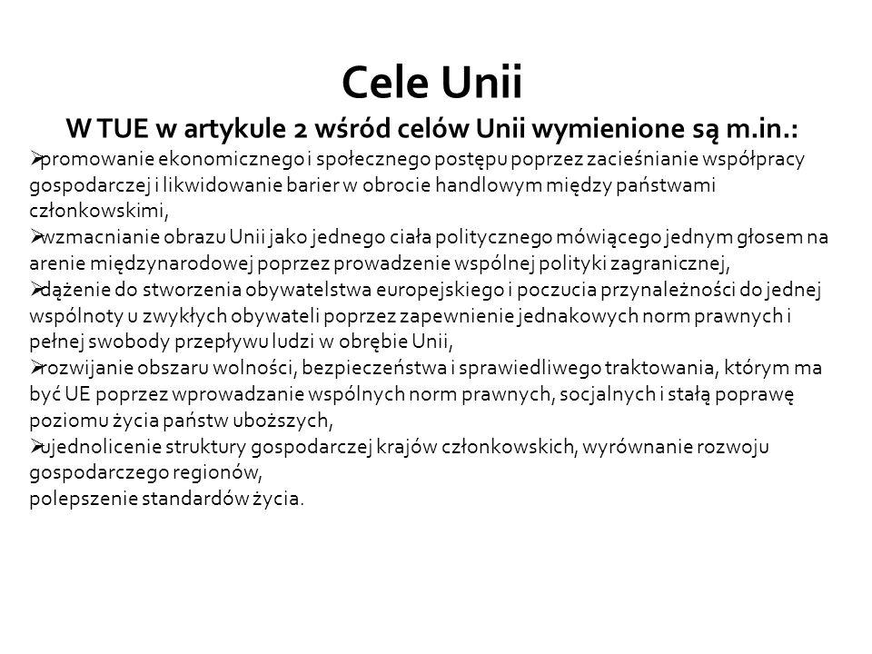 W TUE w artykule 2 wśród celów Unii wymienione są m.in.: