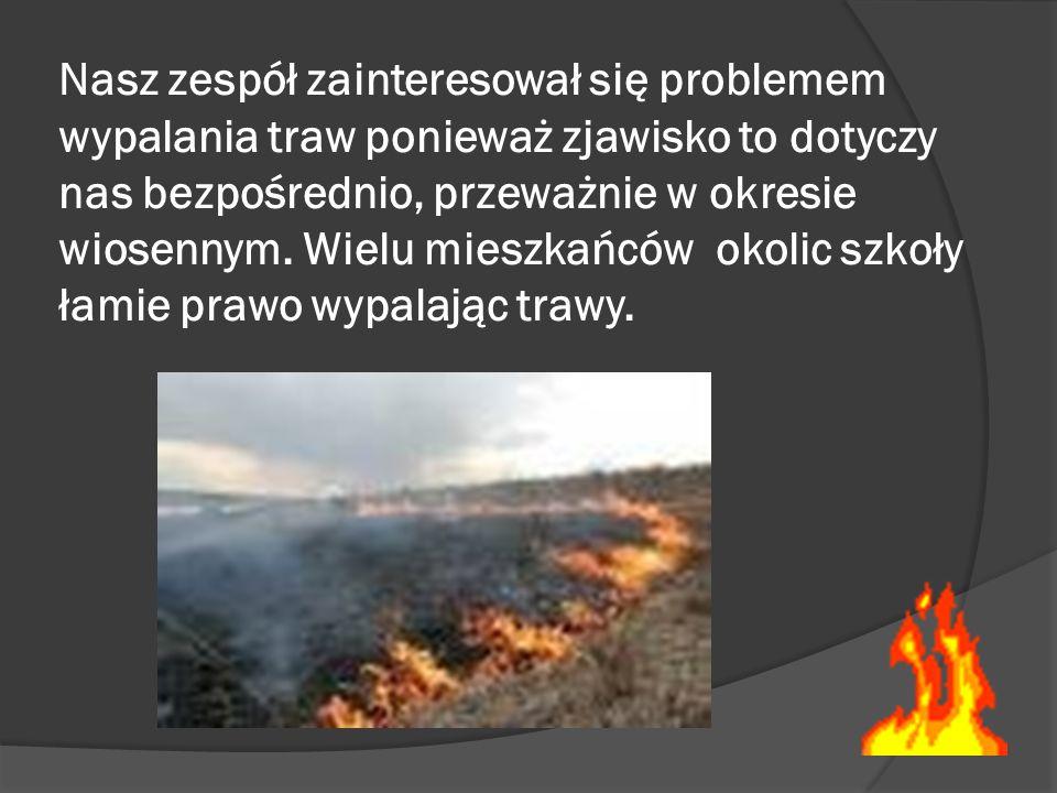 Nasz zespół zainteresował się problemem wypalania traw ponieważ zjawisko to dotyczy nas bezpośrednio, przeważnie w okresie wiosennym.