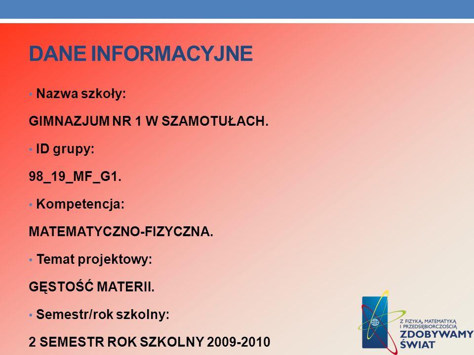 DANE INFORMACYJNE Nazwa szkoły: GIMNAZJUM NR 1 W SZAMOTUŁACH.