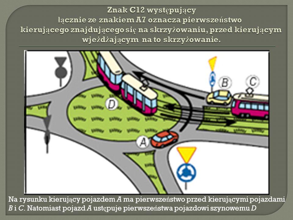 Znak C12 występujący łącznie ze znakiem A7 oznacza pierwszeństwo kierującego znajdującego się na skrzyżowaniu, przed kierującym wjeżdżającym na to skrzyżowanie.