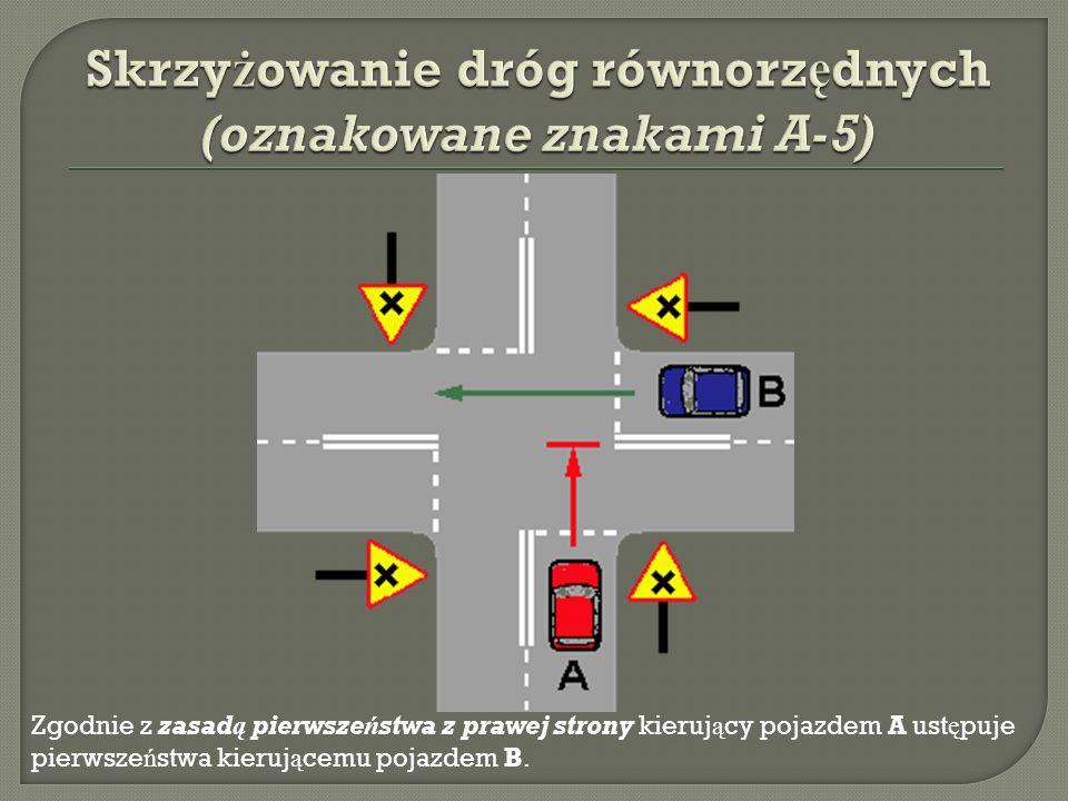 Skrzyżowanie dróg równorzędnych (oznakowane znakami A-5)