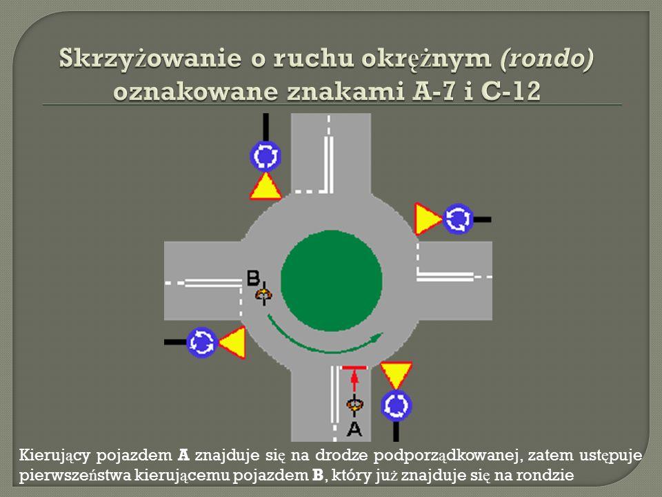 Skrzyżowanie o ruchu okrężnym (rondo) oznakowane znakami A-7 i C-12