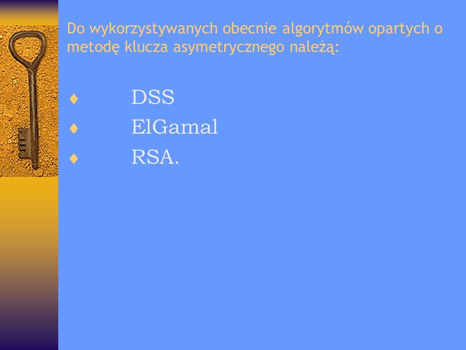 Do wykorzystywanych obecnie algorytmów opartych o metodę klucza asymetrycznego należą: