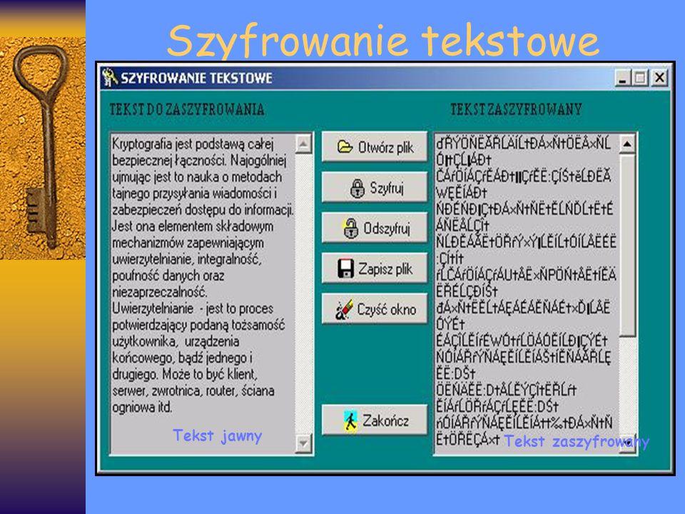 Szyfrowanie tekstowe Tekst jawny Tekst zaszyfrowany