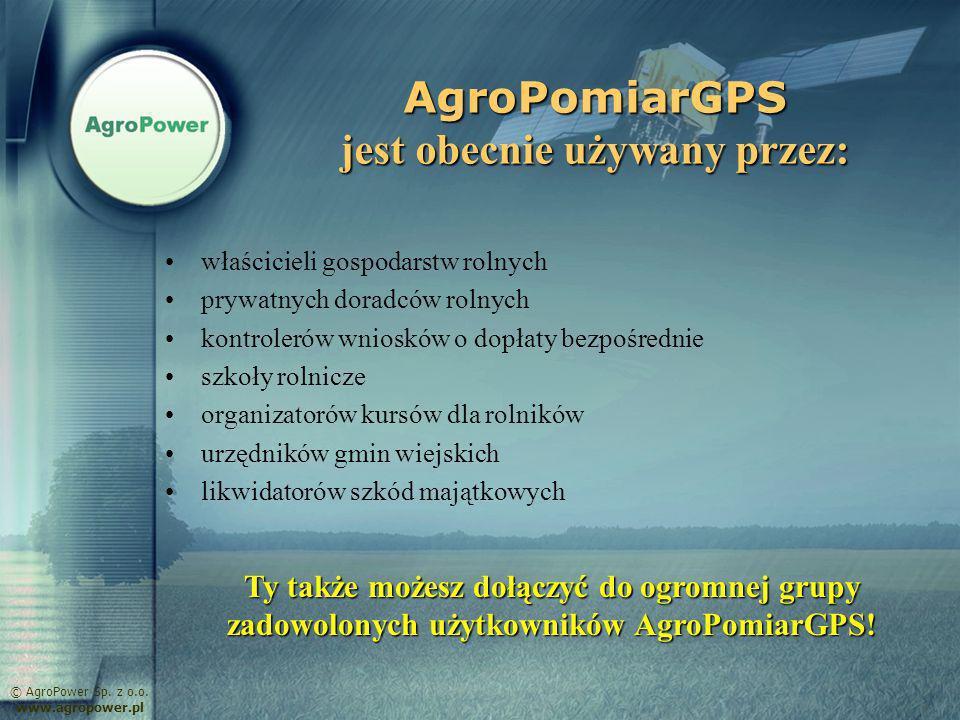 AgroPomiarGPS jest obecnie używany przez: