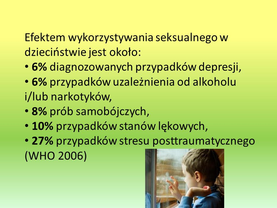 Efektem wykorzystywania seksualnego w dzieciństwie jest około: