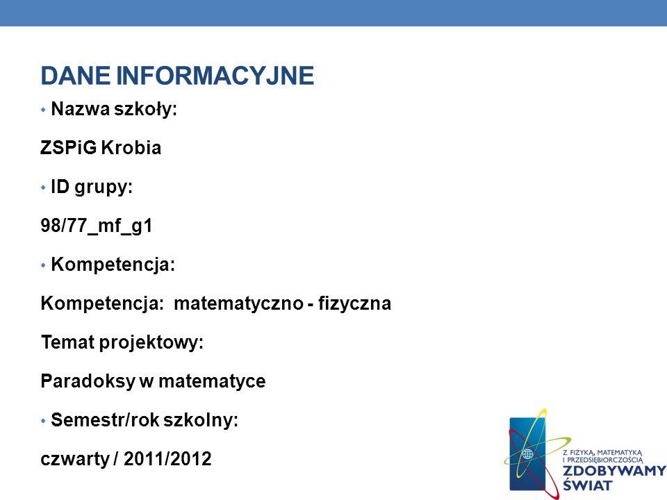 Dane INFORMACYJNE Nazwa szkoły: ZSPiG Krobia ID grupy: 98/77_mf_g1