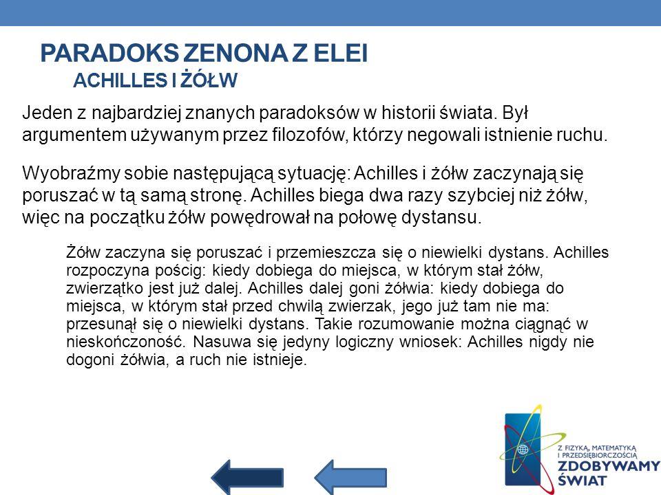 Paradoks Zenona z Elei Achilles i żółw