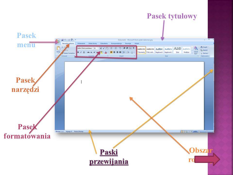 Pasek tytułowy Pasek menu Pasek narzędzi Pasek formatowania Obszar roboczy Paski przewijania
