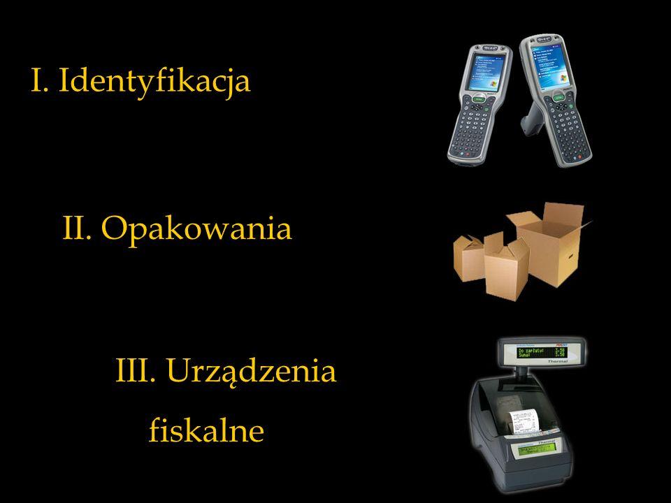 I. Identyfikacja II. Opakowania III. Urządzenia fiskalne