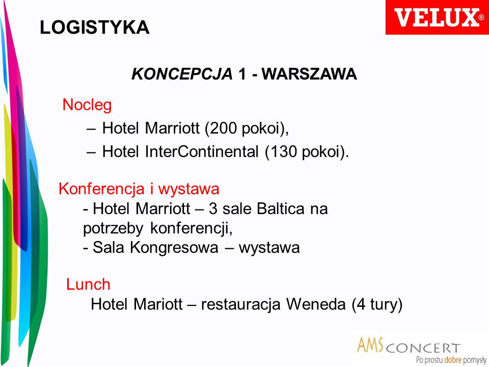 LOGISTYKA KONCEPCJA 1 - WARSZAWA Nocleg Hotel Marriott (200 pokoi),
