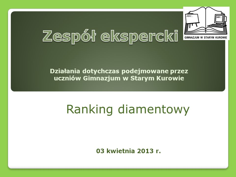 Zespół ekspercki Ranking diamentowy