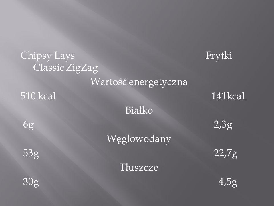 Chipsy Lays Frytki Classic ZigZag Wartość energetyczna 510 kcal 141kcal Białko 6g 2,3g Węglowodany 53g 22,7g Tłuszcze 30g 4,5g