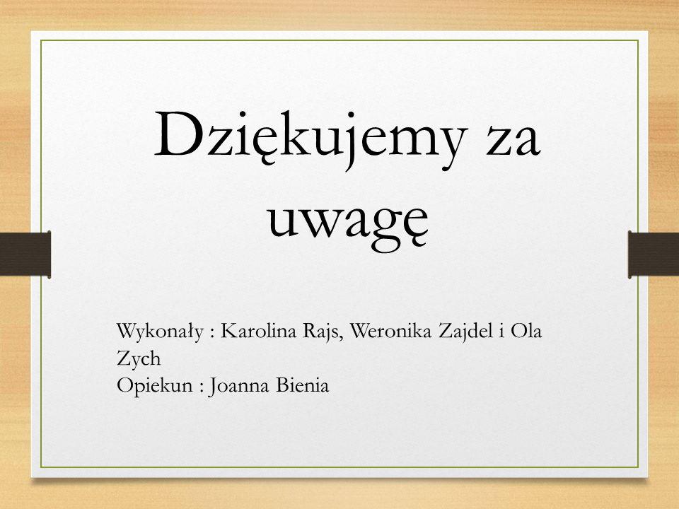 Dziękujemy za uwagę Wykonały : Karolina Rajs, Weronika Zajdel i Ola Zych Opiekun : Joanna Bienia