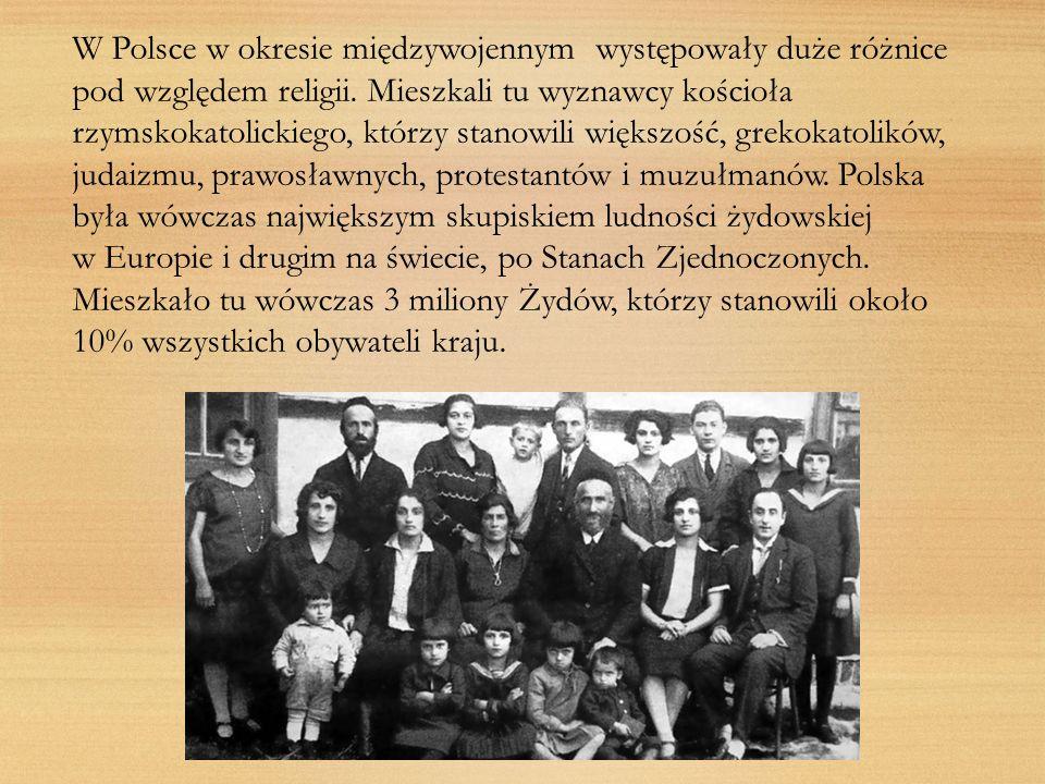 W Polsce w okresie międzywojennym występowały duże różnice pod względem religii. Mieszkali tu wyznawcy kościoła rzymskokatolickiego, którzy stanowili większość, grekokatolików, judaizmu, prawosławnych, protestantów i muzułmanów. Polska była wówczas największym skupiskiem ludności żydowskiej