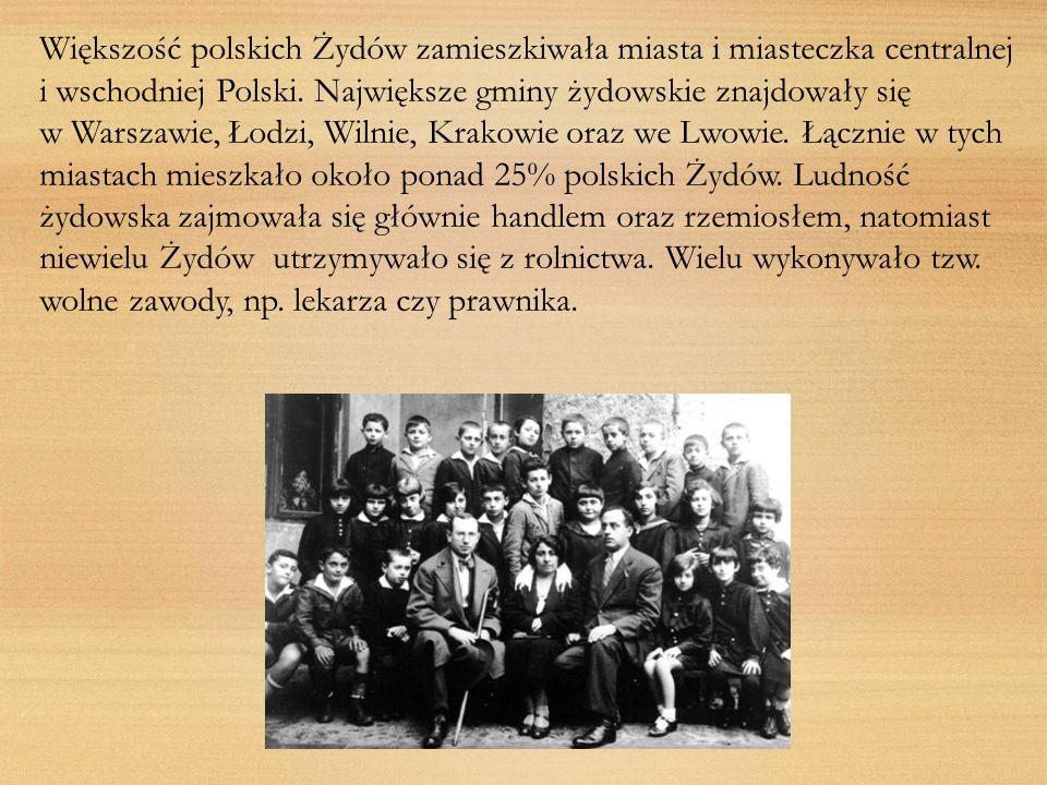 Większość polskich Żydów zamieszkiwała miasta i miasteczka centralnej