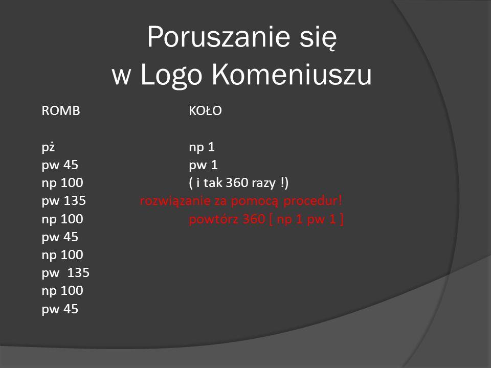 Poruszanie się w Logo Komeniuszu ROMB KOŁO pż np 1 pw 45 pw 1