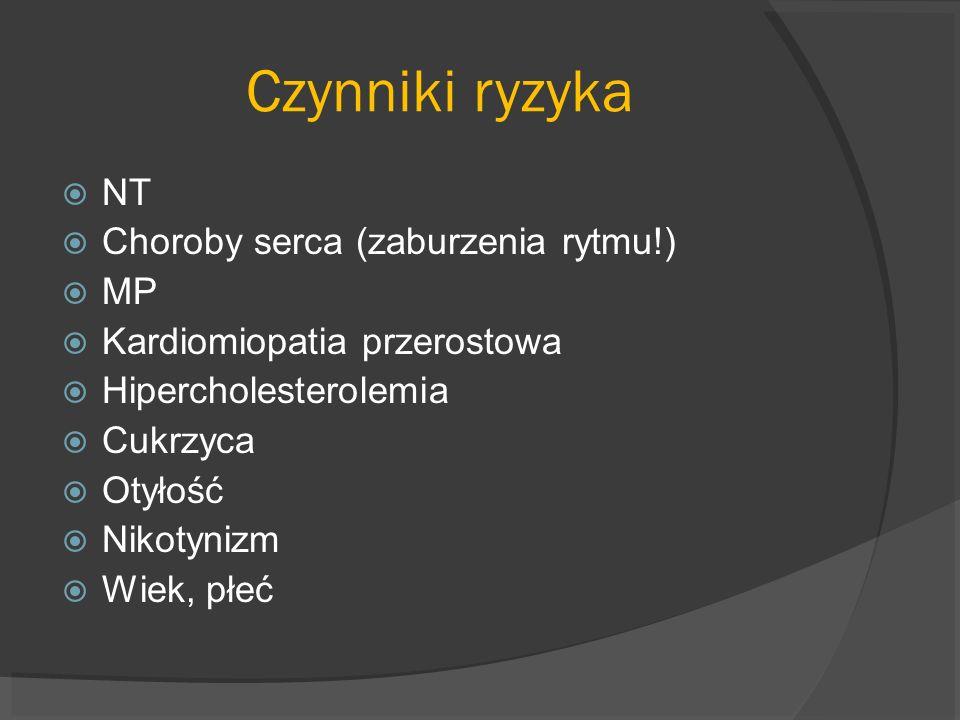 Czynniki ryzyka NT Choroby serca (zaburzenia rytmu!) MP