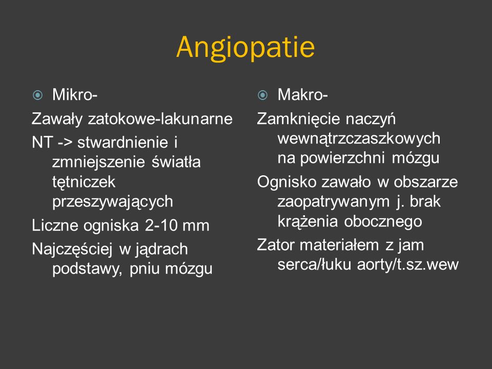 Angiopatie Mikro- Zawały zatokowe-lakunarne