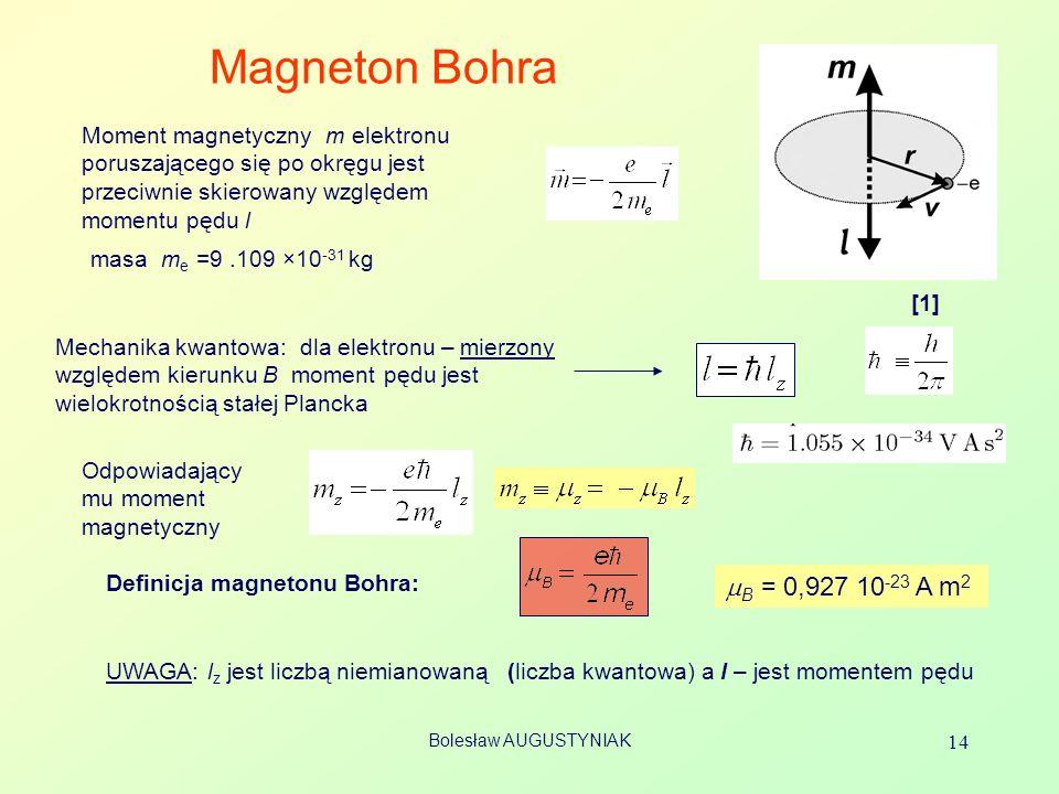 Magneton Bohra Moment magnetyczny m elektronu poruszającego się po okręgu jest przeciwnie skierowany względem momentu pędu l.