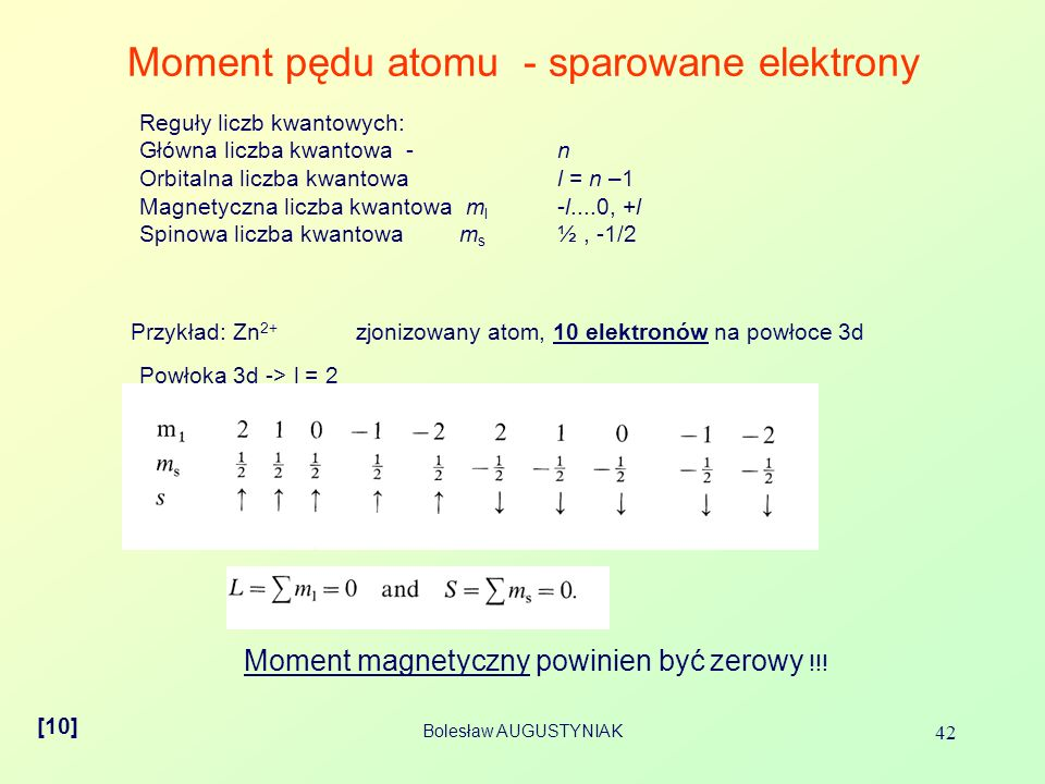Moment pędu atomu - sparowane elektrony