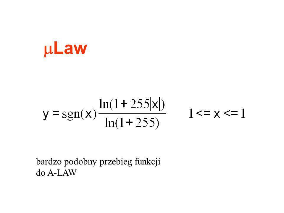 Law bardzo podobny przebieg funkcji do A-LAW